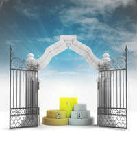 divine champion podium in heavenly gate with sky flare