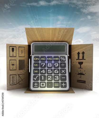 business calculator product delivery with sky flare