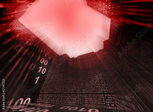 indoors of modern computer device with binary code red alert