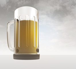 full glass of tasty czech bier with sky background render