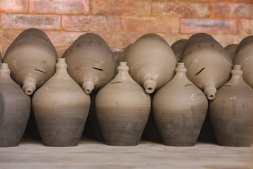 Pottery pots are dried in Nepal