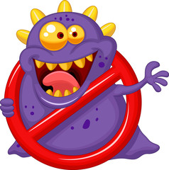 Stop virus - purple virus in red alert sign