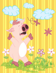 Illustration vector of cute pig with flowers