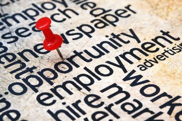 Pushpin on opportunity text
