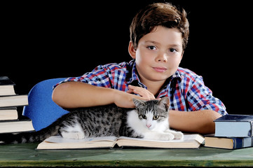 Student with cat