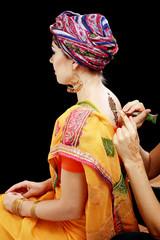 henna applying on the back
