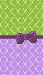 Ribbon and Bow, Moroccan Trellis, Green Purple White