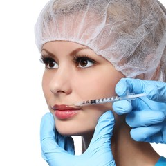 Botox injection in female face isolated. Lips zone.