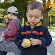 Children eating apple