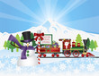 Santa on Train With Snow Scene Vector Illustration
