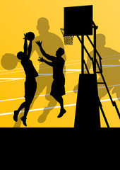 Basketball players active sport silhouettes vector background