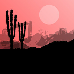 Desert cactus plants wild nature landscape illustration backgrou