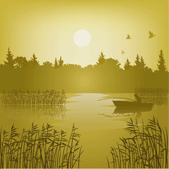 Vector landscape  with the fisherman, and reflexion in water