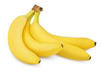 Four ripe bananas isolated on white with clipping path