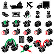 vector parcel delivery icon set