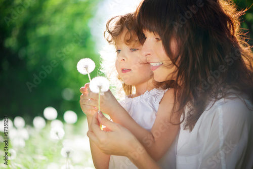 canvas print picture daughter with her mother together outdoors