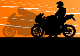 Sport motorbike riders and motorcycles silhouettes illustration