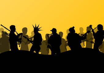 Rock concert various musicians abstract landscape background ill