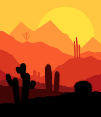 Desert cactus plants wild nature landscape illustration backgrou