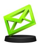 3D green envelope icon on podium