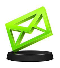 3D green envelope icon on podium