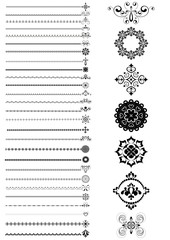 Collection  borders and ornaments on white background