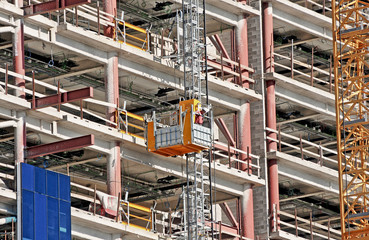 building site and hoists