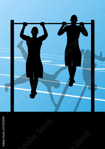Active and strong fitness man doing push ups in sport silhouette