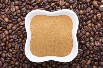 coffee powder on coffee beans background