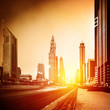 Dubai city in sunset