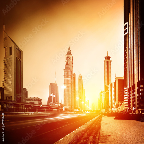 Dubai city in sunset