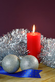 Christmas Baubles and Candle with Tinsel