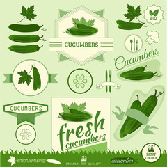 cucumber, vegetables, food label,background packaging design