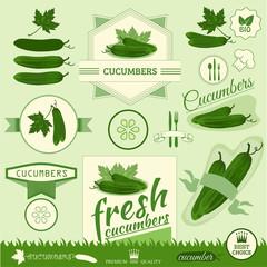 cucumber, vegetables, food label,background packaging design