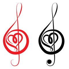 Heart of treble clef and bass clef