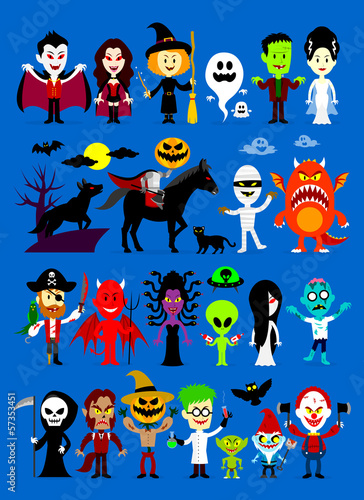 Monsters Mash Halloween Cartoon Characters