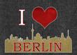 I Love Berlin mit Skyline und Jeansoptik