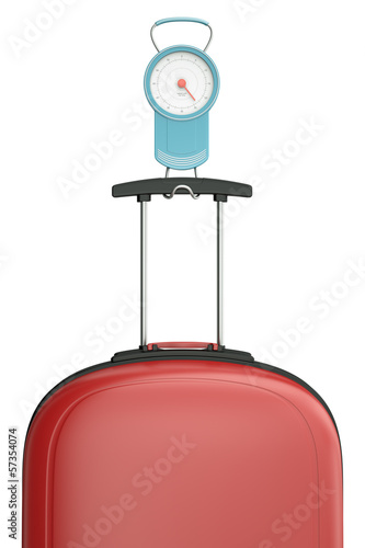 Luggage scales with red suitcase, 3D render.