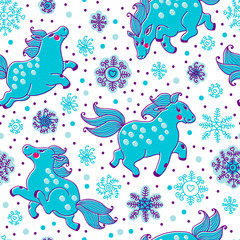 Seamless pattern with horses and snowfall in cartoon style.