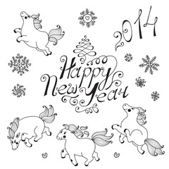 Hand drawn elements for New Year design.