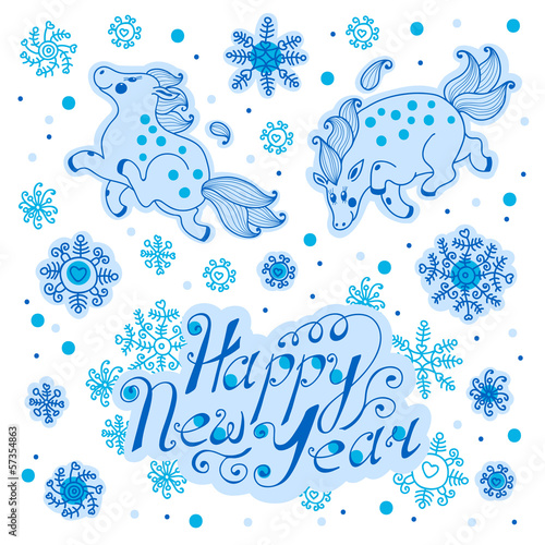Greeting the New Year with a cute horses. Vector illustration.