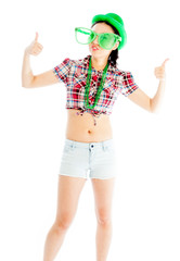 Isolated on white sexy asian cowgirl for st patrick's day