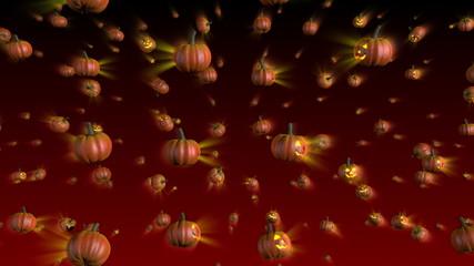 Halloween Pumpkins Falling Background Loop