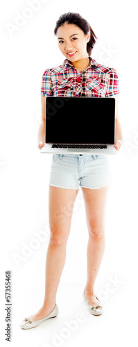 Isolated on white sexy asian cowgirl showing computer