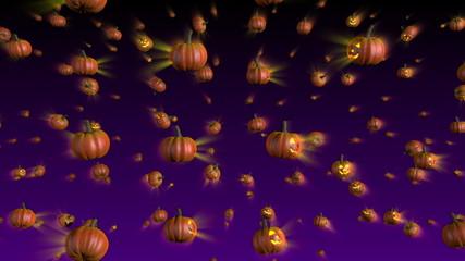 Halloween Pumpkins Falling Background