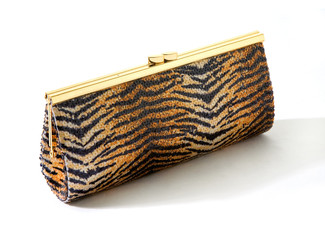 Sequins tiger golden clutch