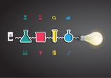 Vector light bulb idea with chemistry and science icon