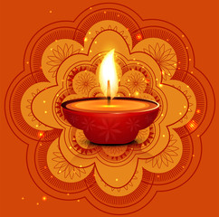 Artistic Beautiful rangoli diwali card colorful vector