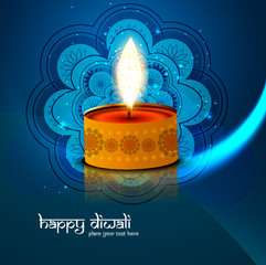 Beautiful Happy Diwali blue bright colorful background vector