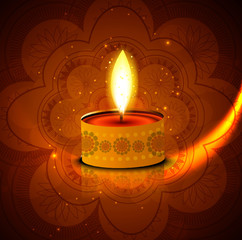 Diwali diya reflection background beautiful colorful vector